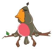 Illustration d'un perroquet mignon le chef heureux de crabots mignons effrontés de personnage de dessin animé de fond a isolé le  Photographie stock libre de droits