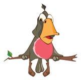 Illustration d'un perroquet mignon le chef heureux de crabots mignons effrontés de personnage de dessin animé de fond a isolé le  Photo libre de droits
