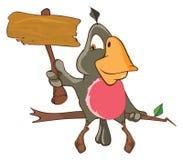 Illustration d'un perroquet mignon le chef heureux de crabots mignons effrontés de personnage de dessin animé de fond a isolé le  Photo stock