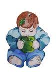 Illustration d'un petit enfant avec la pomme Photos stock