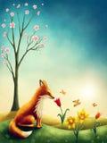 Illustration d'un petit renard rouge Images stock