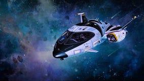 Illustration d'un petit vaisseau spatial personnel dans l'espace illustration libre de droits