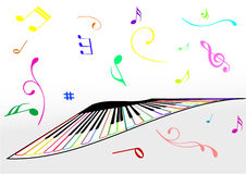 Illustration d'un piano et des notes de musique photo stock