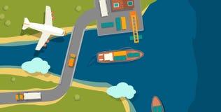 Illustration d'un port de cargaison dans le style plat Vue supérieure Bateau, port, mer, bateau, grue, dock, avion et voie Pour l Photo libre de droits