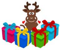 Illustration d'un renne avec des cadeaux Image stock