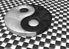 illustration 3D Un signe de yang de yin photo stock