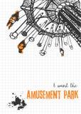 Illustration d'un tour de carrousel sur le fond à carreaux Photo stock