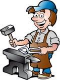 Illustration d'un travailleur heureux de forgeron Photos libres de droits