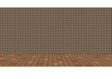 Illustration d'un vieux plancher traditionnel de cuisine et d'un mur carrelé Photographie stock libre de droits