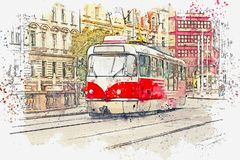 Illustration d'un vieux tram traditionnel à Prague illustration stock