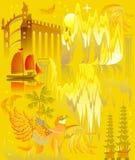 Illustration d'un voyage fantastique à un pays antique de conte de fées Image de bande dessinée de vecteur sur un fond d'or Photo stock