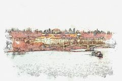 Illustration d'une belle vue de Prague Illustration de Vecteur
