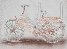 Illustration d'une bicyclette orange photos stock