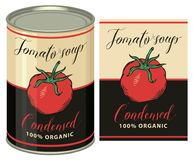 Illustration d'une boîte en fer blanc avec la soupe à tomate de label Images libres de droits