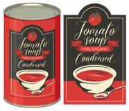 Illustration d'une boîte en fer blanc avec la soupe à tomate de label Photo libre de droits