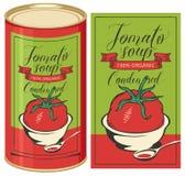 Illustration d'une boîte en fer blanc avec la soupe à tomate de label Image stock