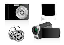 Illustration d'une caméra vidéo et d'un appareil-photo de photo Photo stock