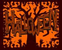 Illustration d'une carte de voeux traditionnelle de partie de Halloween photographie stock libre de droits