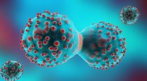 illustration 3d d'une cellule cancéreuse bleue en cours de mitose image stock