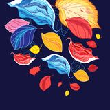 Illustration d'une chute multicolore merveilleuse de feuille Photo stock