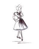 Illustration d'une femelle dans une robe élégante et des bateaux de chaussures Photos stock