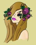 Illustration d'une fille avec des fleurs dans ses cheveux, dessin de main Photographie stock libre de droits