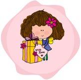 Illustration d'une fille avec un cadeau sur l'anniversaire Photographie stock
