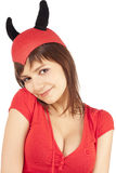 Illustration d'une fille dans un costume de diable Images stock