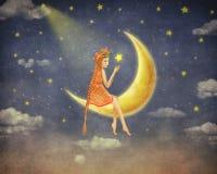 Illustration d'une fille mignonne s'asseyant sur la lune en ciel nocturne Photo libre de droits