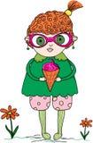 Illustration d'une fille rouge de cheveux avec une crème glacée  Photos stock