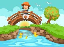 Illustration d'une fille s'asseyant sur le pont en bois dans le landsc de nature illustration stock