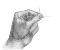 Illustration d'une main de crayon avec le businesscard Images libres de droits