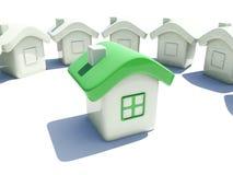Illustration d'une maison avec le toit vert Image stock