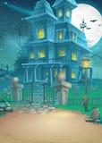 Illustration d'une maison hantée une nuit éclairée par la lune Photos stock