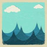 Illustration d'une mer orageuse et des nuages de papier Images stock