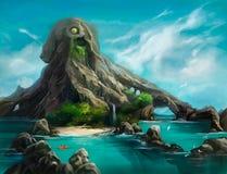 Illustration d'une montagne sous forme de poulpe illustration libre de droits