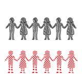 Illustration d'une rangée des hommes et des femmes tenant des mains photo stock