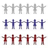 Illustration d'une rangée des hommes et des femmes tenant des mains photo libre de droits