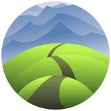 Illustration d'une route très étroite de courbe Photos stock