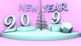 illustration 3D d'une salle avec un symbole de la nouvelle année, 2019 objets sur les figures et un arbre de Noël stylistique dan illustration de vecteur