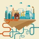 Illustration d'une usine ou d'une raffinerie illustration de vecteur