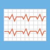 Illustration d'une vague de cardiogramme de coeur sur un morceau de papier Photo stock