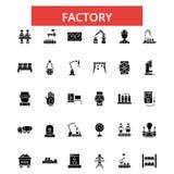 Illustration d'usine, ligne mince icônes, signes plats linéaires, symboles de vecteur illustration de vecteur