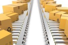 Illustration 3D verpackt Lieferung, Packdienst und teilt Verkehrssystemkonzept, Pappschachteln an ein Stockfotografie