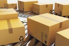 Illustration 3D verpackt Lieferung, Packdienst und teilt Verkehrssystemkonzept, Pappschachteln an ein Lizenzfreies Stockbild