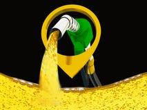 Illustration 3D, versehen pumpendes Benzin in einem Beh?lter, des auslaufenden Benzins der Zapfpistole ?ber wei?em Hintergrund mi stock abbildung