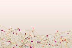 Illustration 3D von abstrakten Molekülen und von Kommunikationstechnologiehintergrund mit verbundenen Punkten und Linien Lizenzfreie Stockfotos