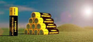 Illustration 3d von Batterien stock abbildung