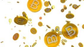 Illustration 3D von bitcoin prägt das Fallen auf einen weißen Hintergrund stock abbildung