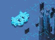 Illustration 3D von bitcoin Symbol steigend von der modernen Stadt auf der Ufergegend Stockbilder